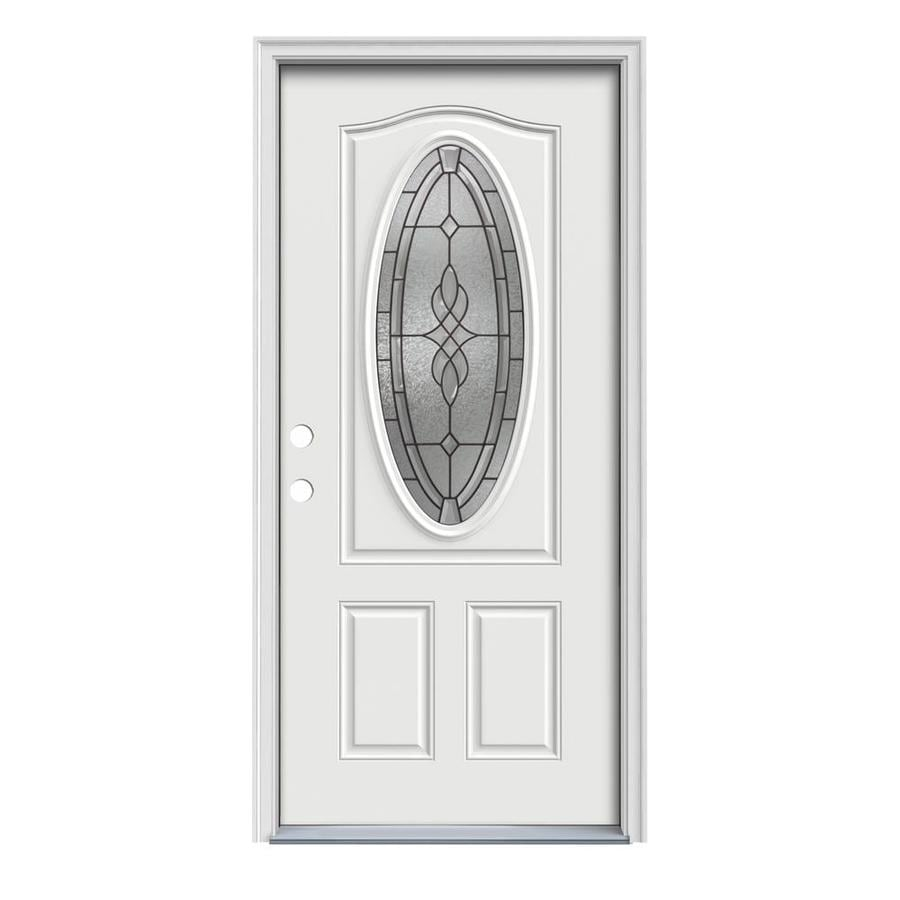 JELD-WEN Hampton Decorative Glass Right-Hand Inswing Arctic White Painted Steel Prehung Entry Door with Insulating Core (Common: 32-in x 80-in; Actual: 33.5000-in x 81.7500-in)