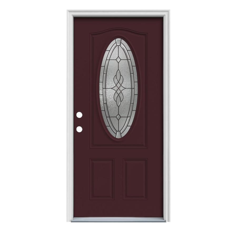 JELD-WEN Hampton Decorative Glass Right-Hand Inswing Currant Painted Steel Prehung Entry Door with Insulating Core (Common: 32-in x 80-in; Actual: 33.5-in x 81.75-in)