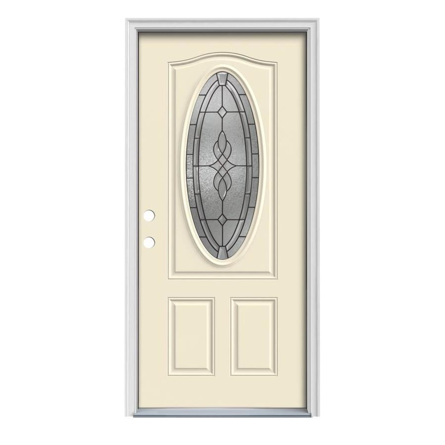 JELD-WEN Hampton 2-Panel Insulating Core Oval Lite Right-Hand Inswing Bisque Steel Painted Prehung Entry Door (Common: 36-in x 80-in; Actual: 37.5-in x 81.75-in)