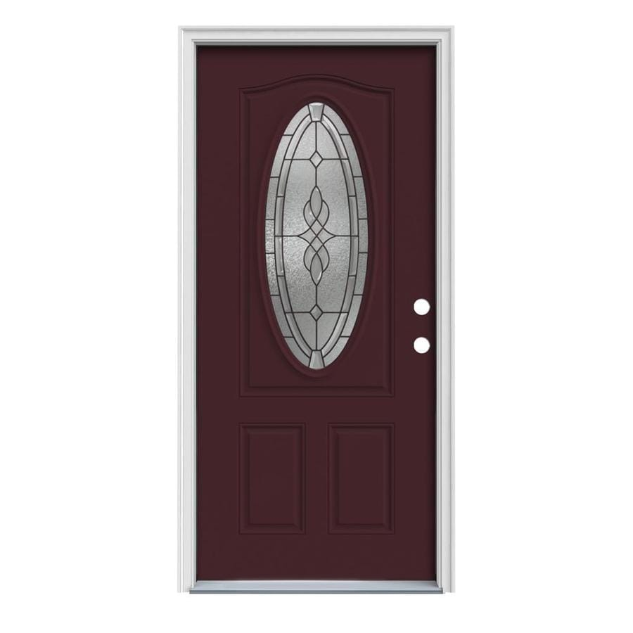 JELD-WEN Hampton 2-Panel Insulating Core Oval Lite Left-Hand Inswing Currant Steel Painted Prehung Entry Door (Common: 36-in x 80-in; Actual: 37.5-in x 81.75-in)