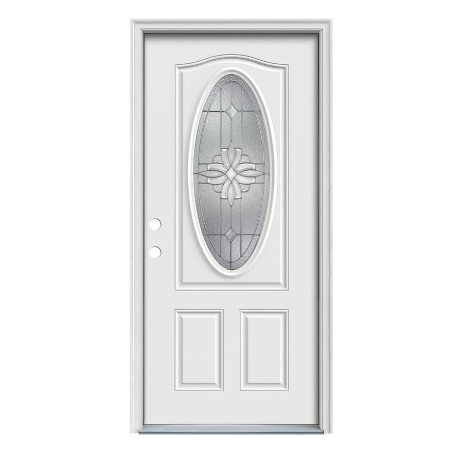 JELD-WEN Laurel 2-Panel Insulating Core Oval Lite Right-Hand Inswing Arctic White Steel Painted Prehung Entry Door (Common: 32-in x 80-in; Actual: 33.5-in x 81.75-in)