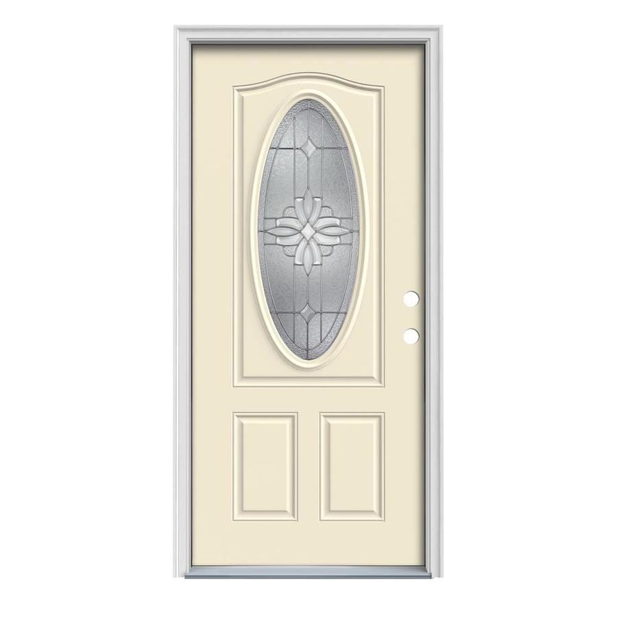 JELD-WEN Laurel 2-Panel Insulating Core Oval Lite Left-Hand Inswing Bisque Steel Painted Prehung Entry Door (Common: 32-in x 80-in; Actual: 33.5-in x 81.75-in)