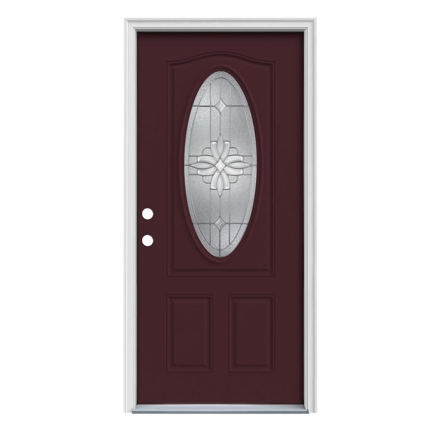 JELD-WEN Laurel 2-Panel Insulating Core Oval Lite Right-Hand Inswing Currant Steel Painted Prehung Entry Door (Common: 32-in x 80-in; Actual: 33.5-in x 81.75-in)