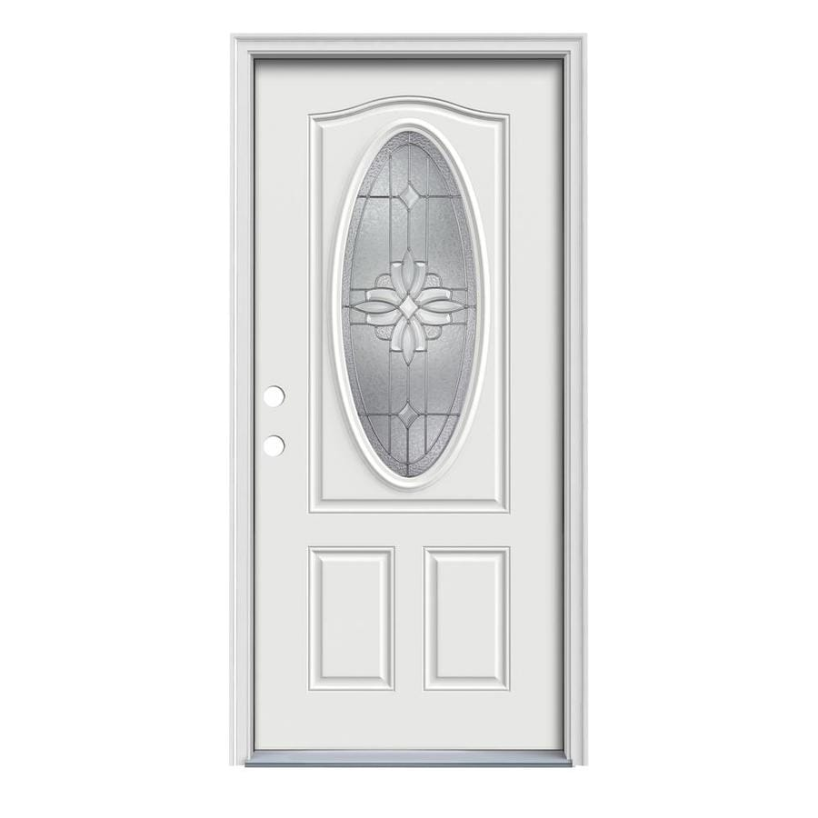 JELD-WEN Laurel 2-Panel Insulating Core Oval Lite Right-Hand Inswing Arctic White Steel Painted Prehung Entry Door (Common: 36-in x 80-in; Actual: 37.5-in x 81.75-in)