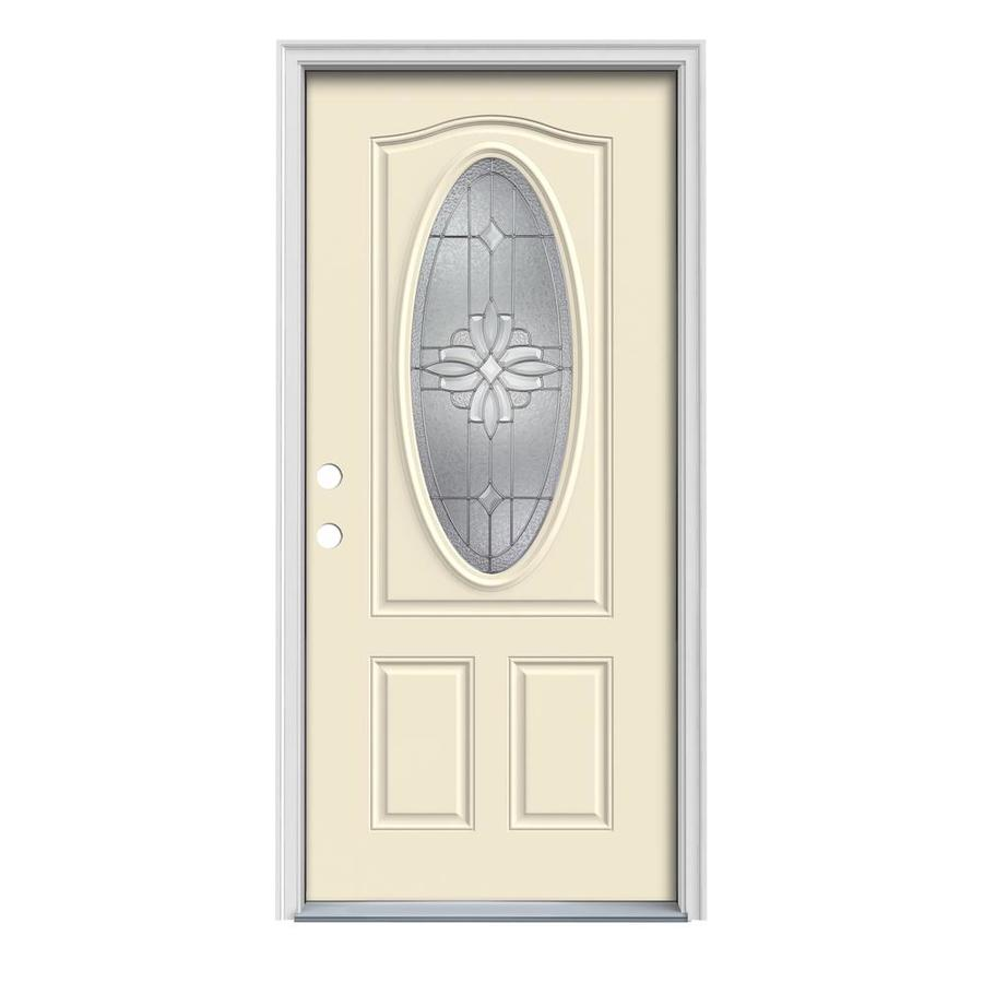 JELD-WEN Laurel Decorative Glass Right-Hand Inswing Bisque Steel Painted Entry Door (Common: 36-in x 80-in; Actual: 37.5-in x 81.75-in)