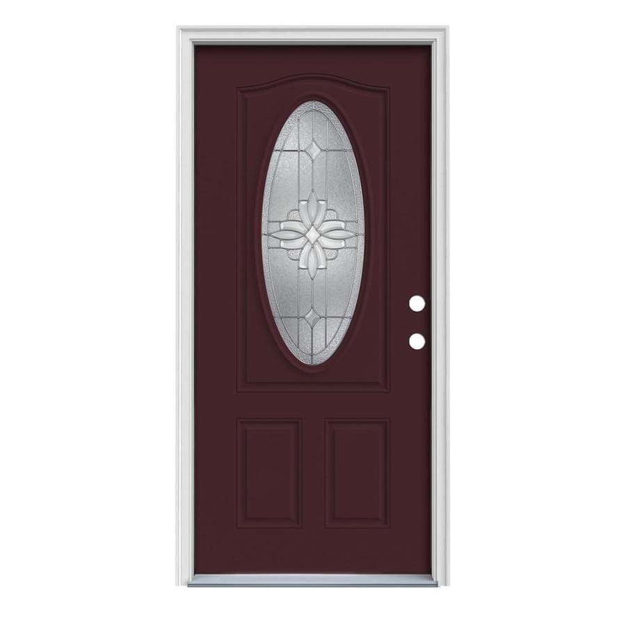 JELD-WEN Laurel Decorative Glass Left-Hand Inswing Currant Painted Steel Prehung Entry Door with Insulating Core (Common: 36-in x 80-in; Actual: 37.5-in x 81.75-in)