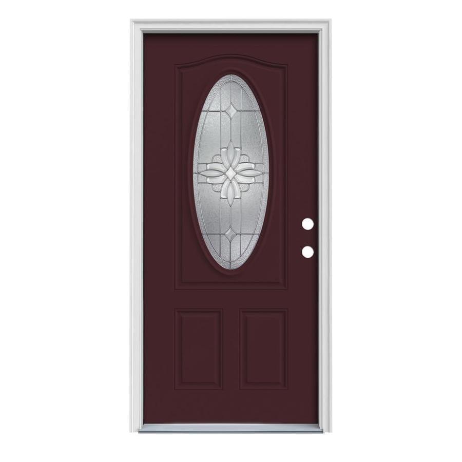 JELD-WEN Laurel Decorative Glass Left-Hand Inswing Currant Steel Painted Entry Door (Common: 36-in x 80-in; Actual: 37.5-in x 81.75-in)