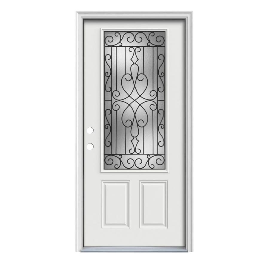 JELD-WEN Wyngate Decorative Glass Right-Hand Inswing Arctic White Painted Steel Prehung Entry Door with Insulating Core (Common: 32-in x 80-in; Actual: 33.5000-in x 81.7500-in)