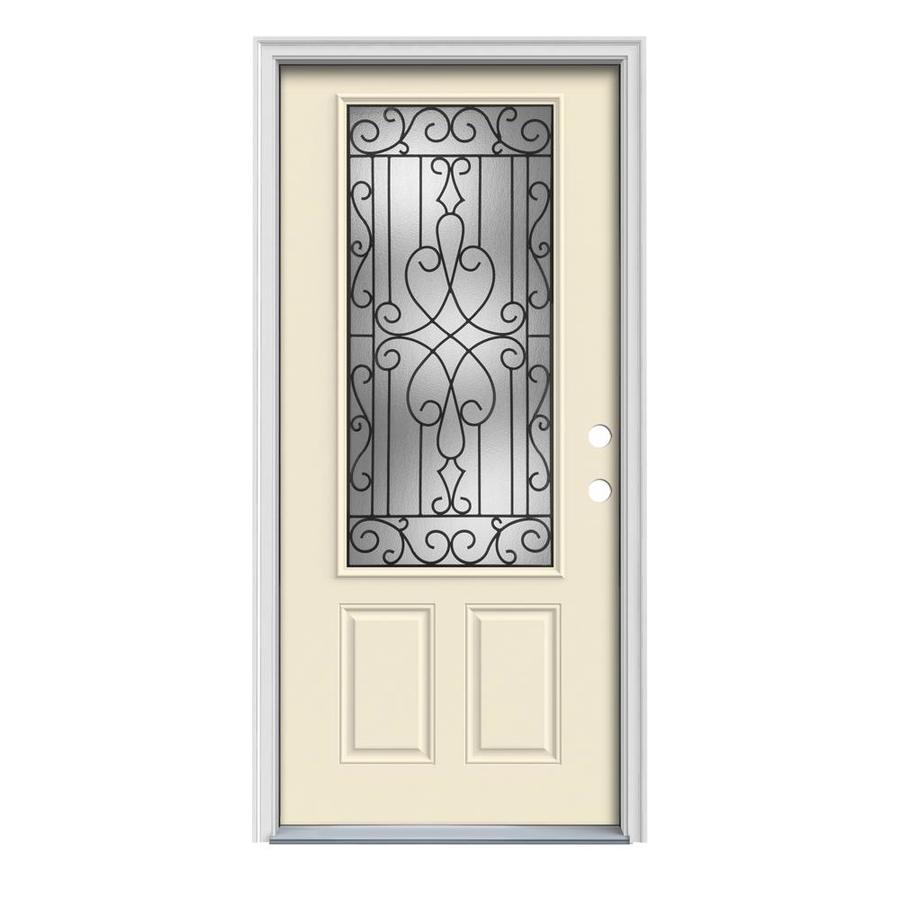 JELD-WEN Wyngate Decorative Glass Left-Hand Inswing Bisque Painted Steel Prehung Entry Door with Insulating Core (Common: 32-in x 80-in; Actual: 33.5000-in x 81.7500-in)