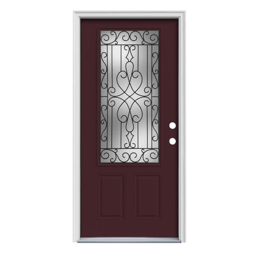 JELD-WEN Wyngate Decorative Glass Left-Hand Inswing Currant Steel Painted Entry Door (Common: 32-in x 80-in; Actual: 33.5-in x 81.75-in)