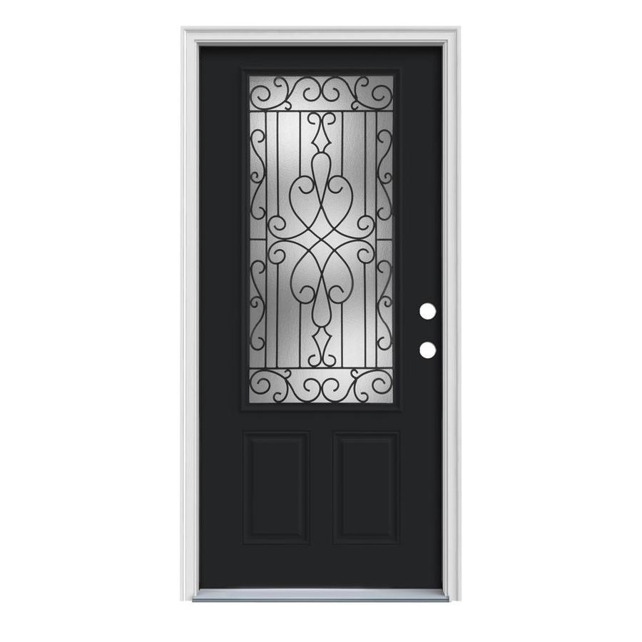 JELD-WEN Wyngate Decorative Glass Left-Hand Inswing Peppercorn Painted Steel Prehung Entry Door with Insulating Core (Common: 32-in x 80-in; Actual: 33.5-in x 81.75-in)