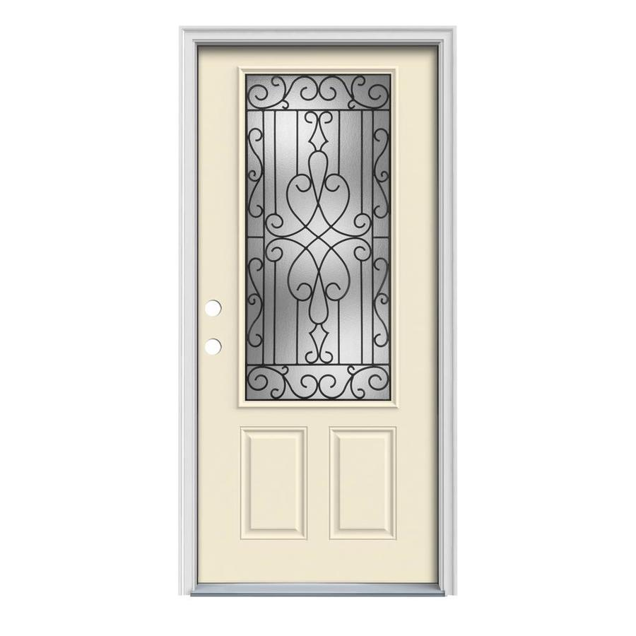 JELD-WEN Wyngate Decorative Glass Right-Hand Inswing Bisque Painted Steel Prehung Entry Door with Insulating Core (Common: 36-in x 80-in; Actual: 37.5-in x 81.75-in)