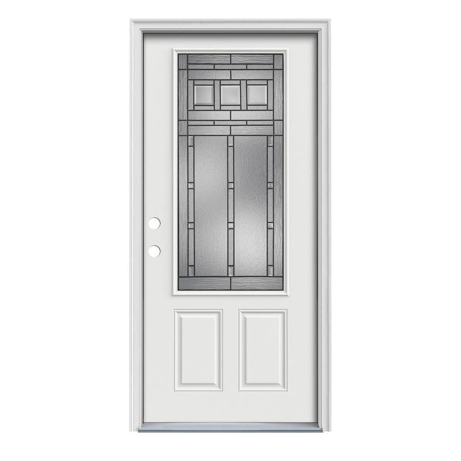 JELD-WEN Craftsman Decorative Glass Right-Hand Inswing Arctic White Painted Steel Prehung Entry Door with Insulating Core (Common: 32-in x 80-in; Actual: 33.5-in x 81.75-in)