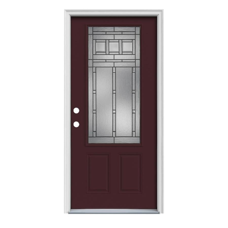 JELD-WEN Craftsman Decorative Glass Right-Hand Inswing Currant Steel Painted Entry Door (Common: 32-in x 80-in; Actual: 33.5000-in x 81.7500-in)