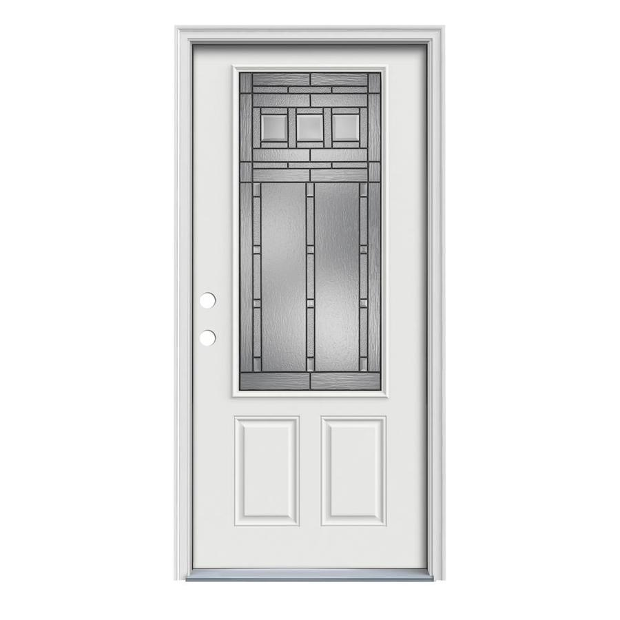 JELD-WEN Craftsman Decorative Glass Right-Hand Inswing Arctic White Painted Steel Prehung Entry Door with Insulating Core (Common: 36-in x 80-in; Actual: 37.5-in x 81.75-in)