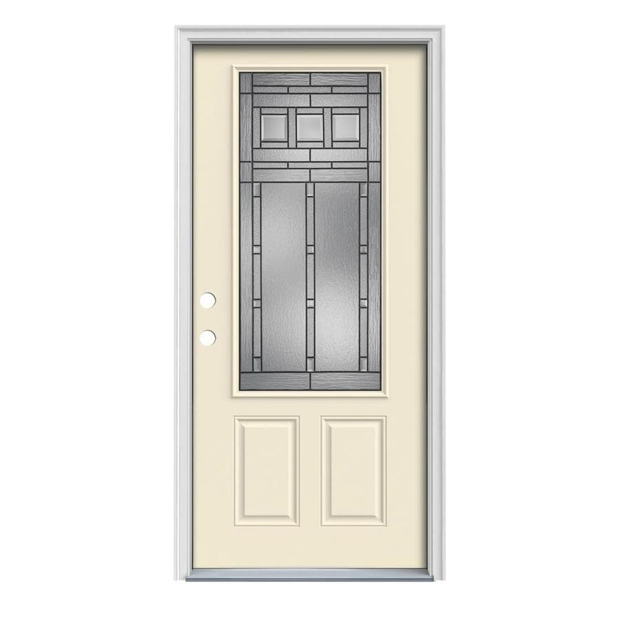JELD-WEN Craftsman Glass 2-Panel Insulating Core 3/4 Lite Right-Hand Inswing Bisque Steel Painted Prehung Entry Door (Common: 36-in x 80-in; Actual: 37.5-in x 81.75-in)