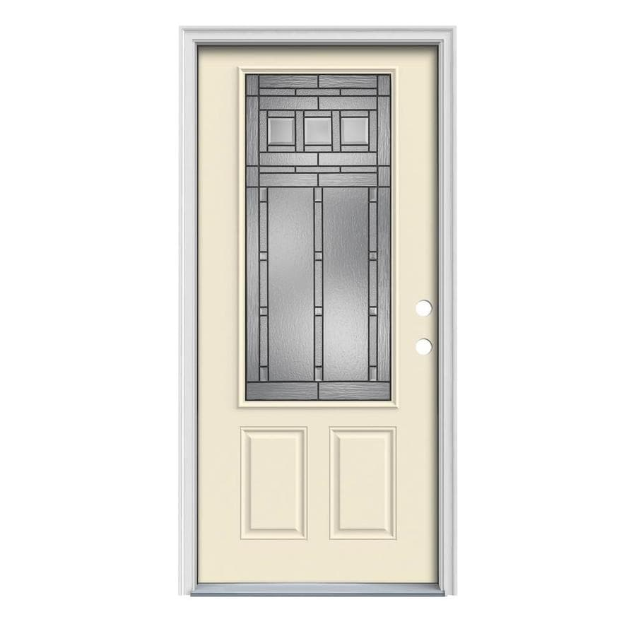 JELD-WEN Craftsman Decorative Glass Left-Hand Inswing Bisque Painted Steel Prehung Entry Door with Insulating Core (Common: 36-in x 80-in; Actual: 37.5000-in x 81.7500-in)