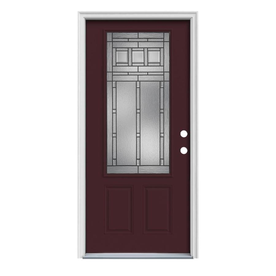 JELD-WEN Craftsman Decorative Glass Left-Hand Inswing Currant Painted Steel Prehung Entry Door with Insulating Core (Common: 36-in x 80-in; Actual: 37.5000-in x 81.7500-in)