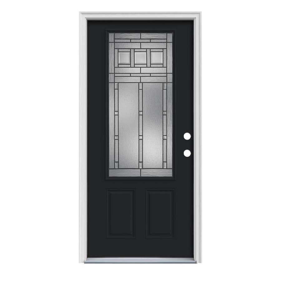 JELD-WEN Craftsman Glass 2-Panel Insulating Core 3/4 Lite Left-Hand Inswing Peppercorn Steel Painted Prehung Entry Door (Common: 36-in x 80-in; Actual: 37.5-in x 81.75-in)