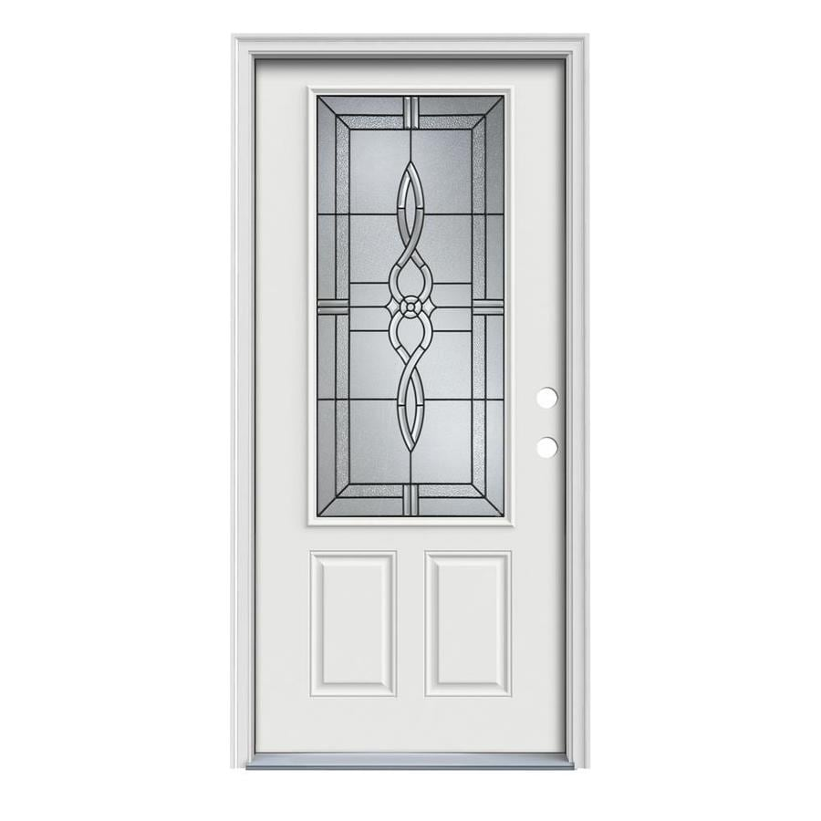 JELD-WEN Calista Decorative Glass Left-Hand Inswing Arctic White Painted Steel Prehung Entry Door with Insulating Core (Common: 32-in x 80-in; Actual: 33.5000-in x 81.7500-in)