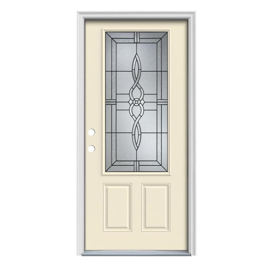 JELD-WEN Calista 2-Panel Insulating Core 3/4 Lite Right-Hand Inswing Bisque Steel Painted Prehung Entry Door (Common: 32-in x 80-in; Actual: 33.5-in x 81.75-in)