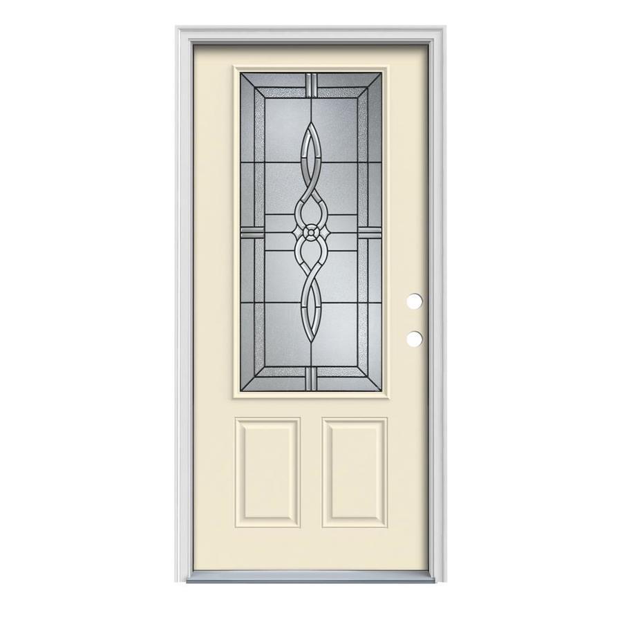 JELD-WEN Calista Decorative Glass Left-Hand Inswing Bisque Steel Painted Entry Door (Common: 32-in x 80-in; Actual: 33.5000-in x 81.7500-in)