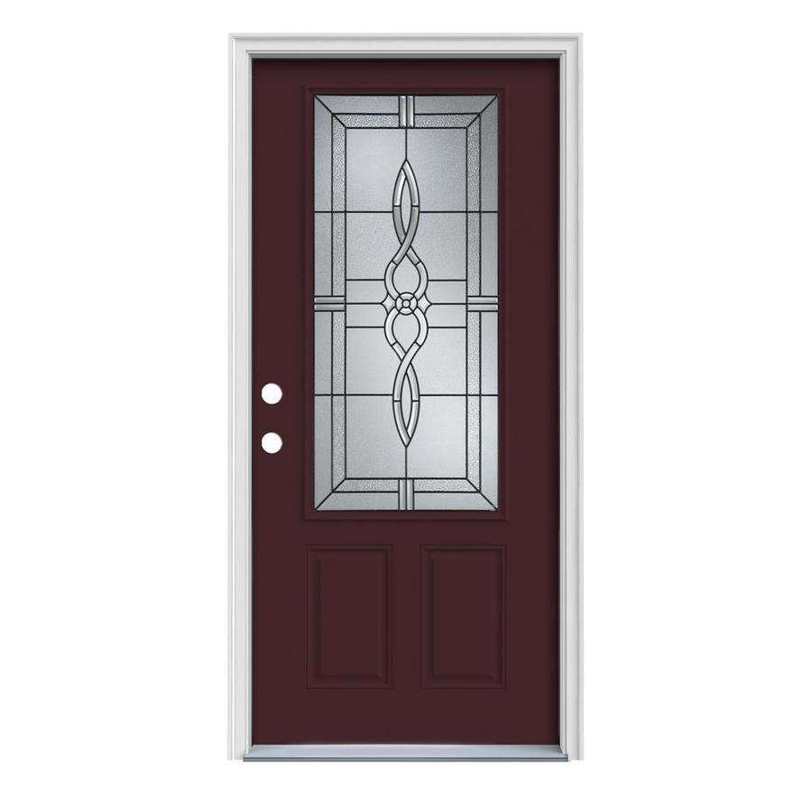 JELD-WEN Calista 2-Panel Insulating Core 3/4 Lite Right-Hand Inswing Currant Steel Painted Prehung Entry Door (Common: 32-in x 80-in; Actual: 33.5-in x 81.75-in)