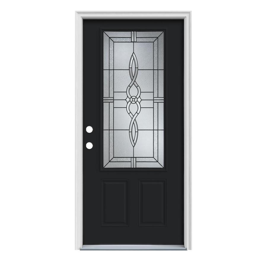 JELD-WEN Calista Decorative Glass Right-Hand Inswing Peppercorn Steel Painted Entry Door (Common: 32-in x 80-in; Actual: 33.5-in x 81.75-in)