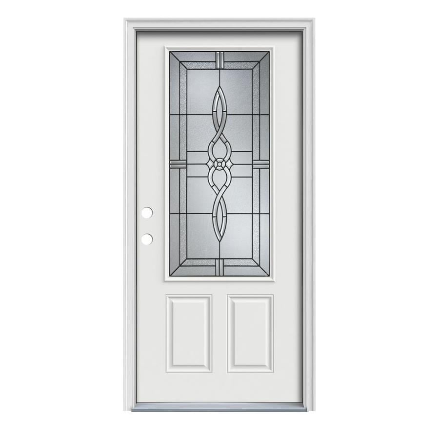 JELD-WEN Calista 2-Panel Insulating Core 3/4 Lite Right-Hand Inswing Arctic White Steel Painted Prehung Entry Door (Common: 36-in x 80-in; Actual: 37.5-in x 81.75-in)