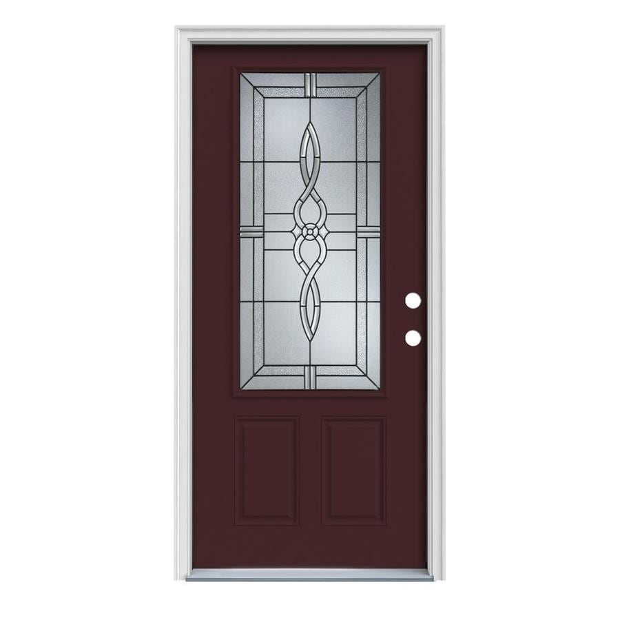 JELD-WEN Calista 2-Panel Insulating Core 3/4 Lite Left-Hand Inswing Currant Steel Painted Prehung Entry Door (Common: 36-in x 80-in; Actual: 37.5-in x 81.75-in)