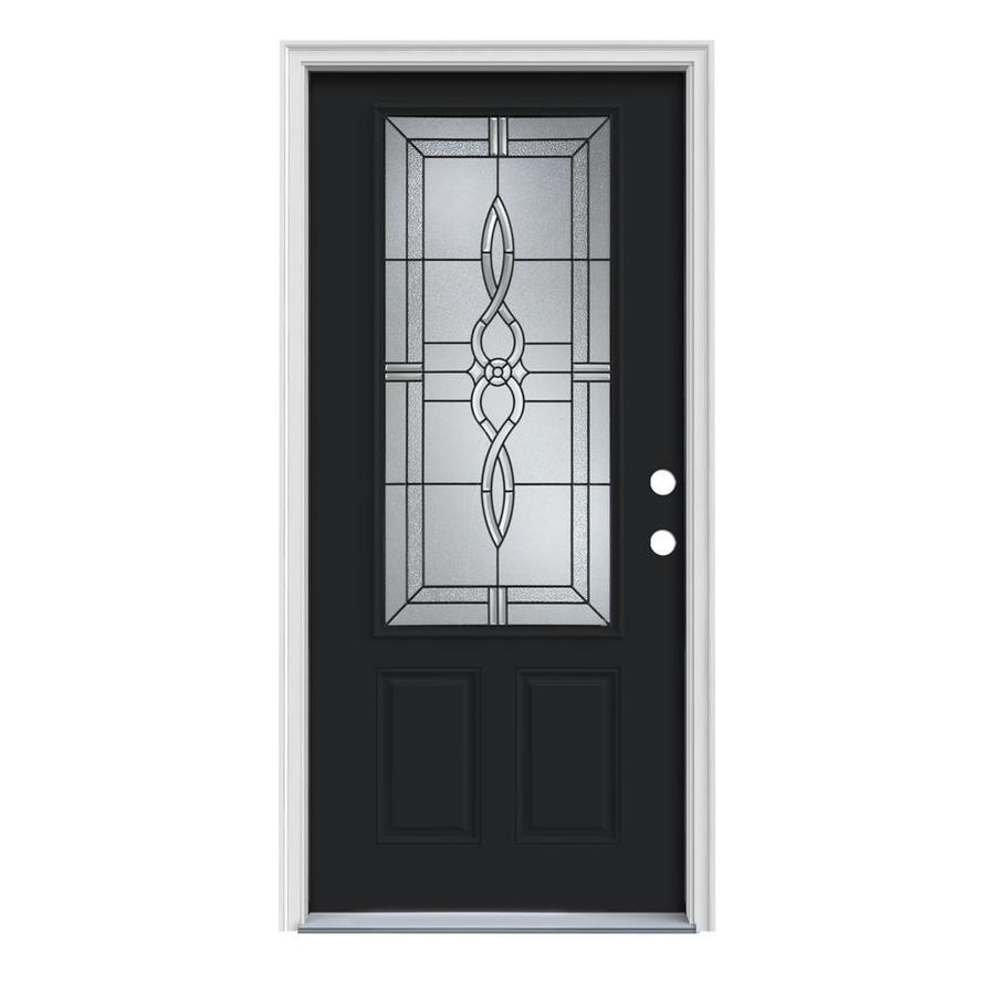 JELD-WEN Calista Decorative Glass Left-Hand Inswing Peppercorn Painted Steel Prehung Entry Door with Insulating Core (Common: 36-in x 80-in; Actual: 37.5-in x 81.75-in)