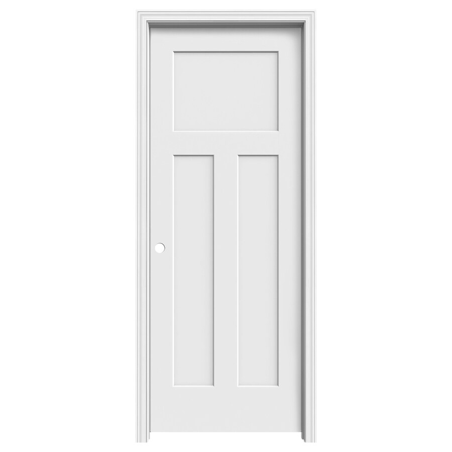 Jeld Wen Craftsman Primed 3 Panel Craftsman Hollow Core Molded Composite Single Prehung Door