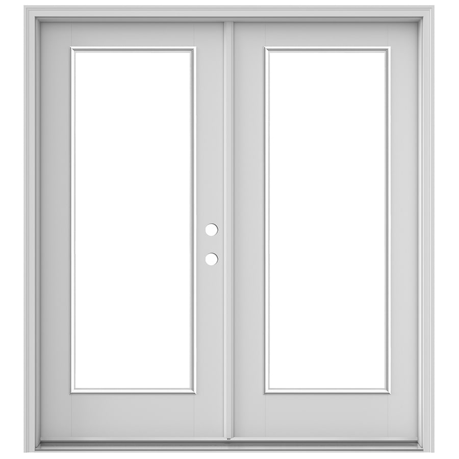 Shop reliabilt 59 5 in 1 lite glass primed fiberglass for Glass french doors