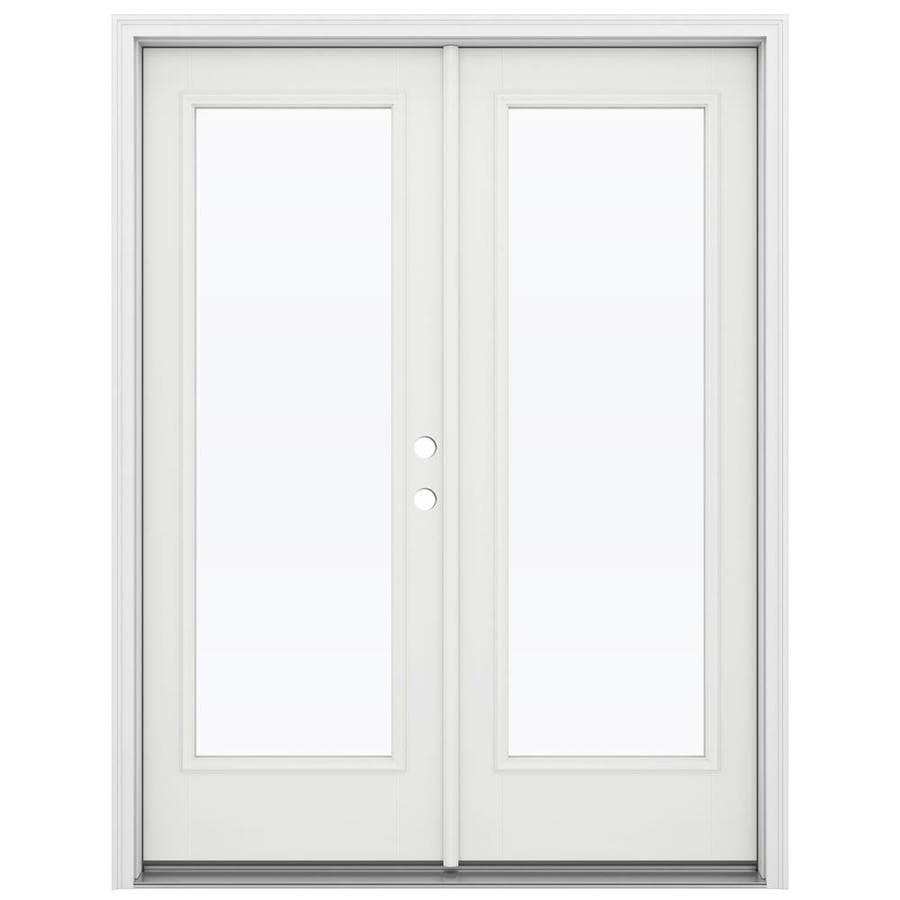 ReliaBilt 59.5-in 1-Lite Glass Arctic White Fiberglass French Inswing Patio Door