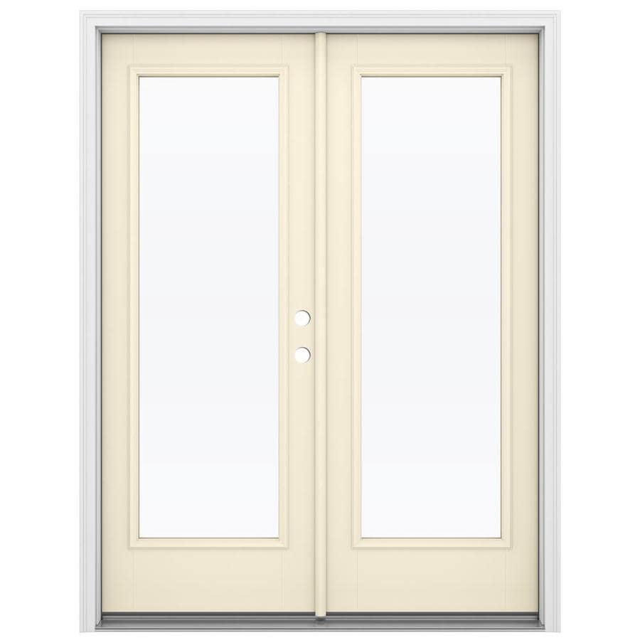 Shop jeld wen 59 5 in x 79 5 in clear glass left hand for Fiberglass french patio doors