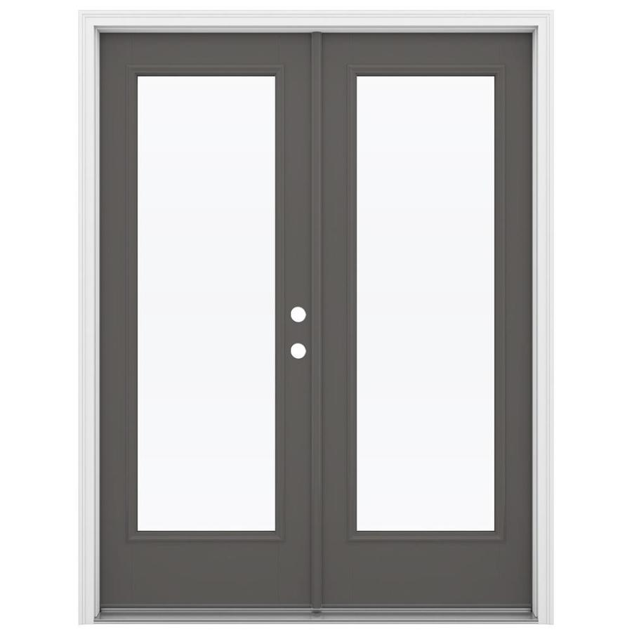 ReliaBilt 59.5-in 1-Lite Glass Timber Gray Fiberglass French Inswing Patio Door