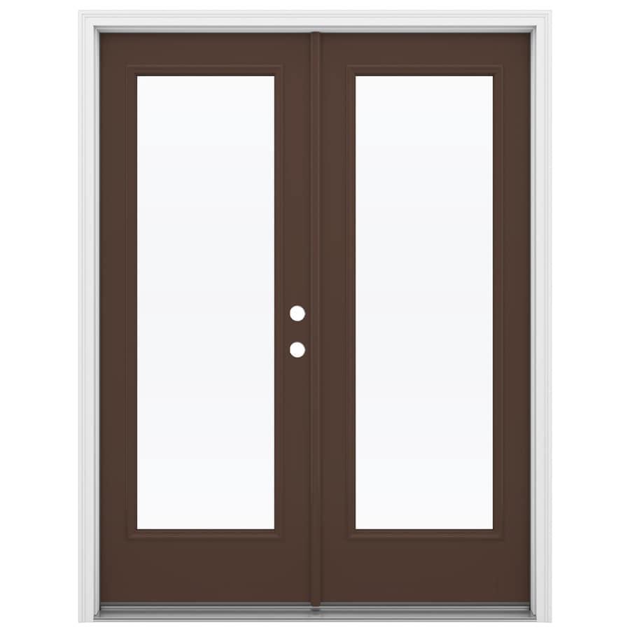 ReliaBilt 59.5-in 1-Lite Glass Chococate Fiberglass French Inswing Patio Door
