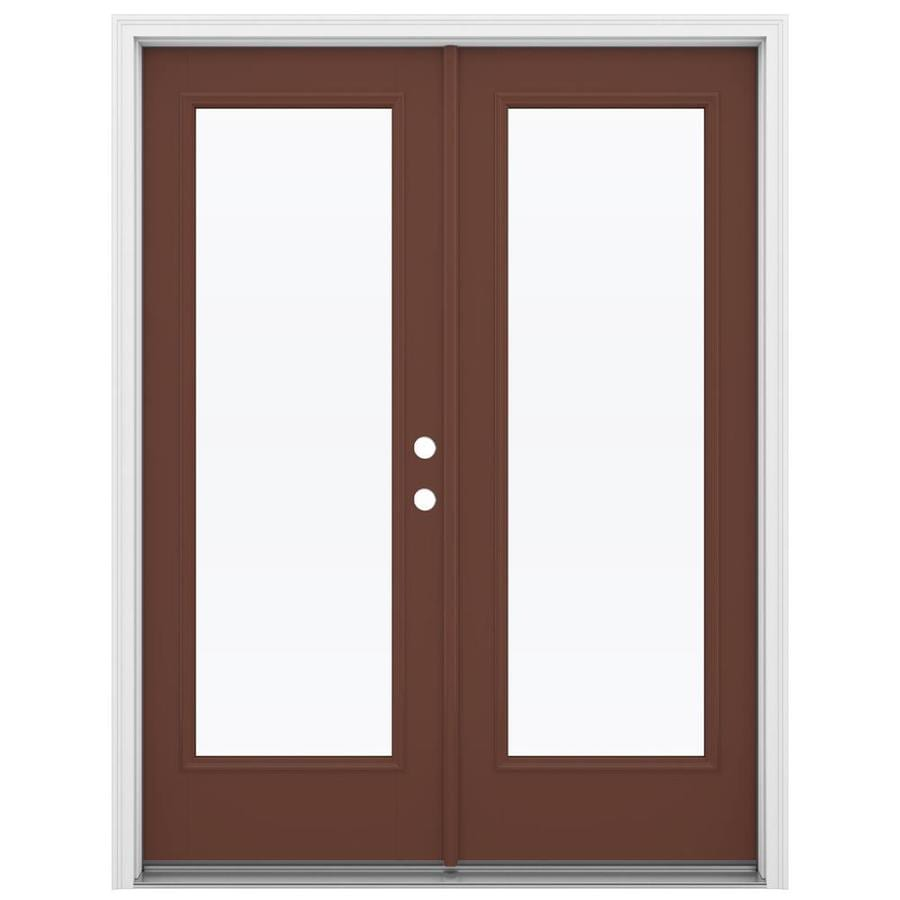 ReliaBilt 59.5-in x 79.5-in Clear Glass Left-Hand Inswing Brown Fiberglass French Patio Door