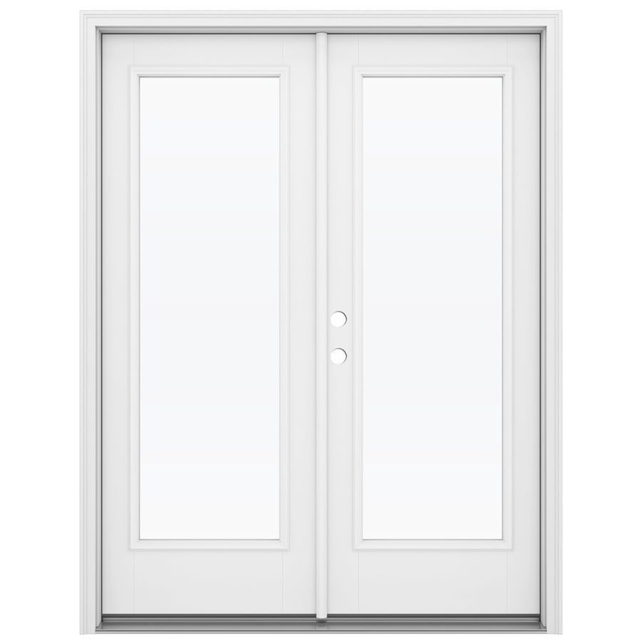ReliaBilt 59.5-in 1-Lite Glass Primed Fiberglass French Inswing Patio Door