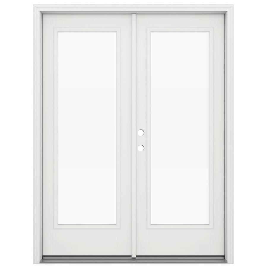 ReliaBilt 59.5-in x 79.5-in Clear Glass Right-Hand Inswing White Fiberglass French Patio Door