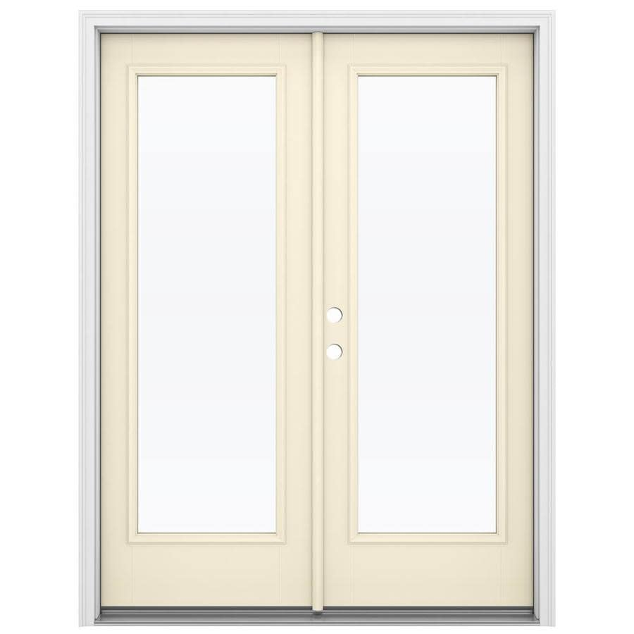 ReliaBilt 59.5-in x 79.5-in Clear Glass Right-Hand Inswing Off-White Fiberglass French Patio Door