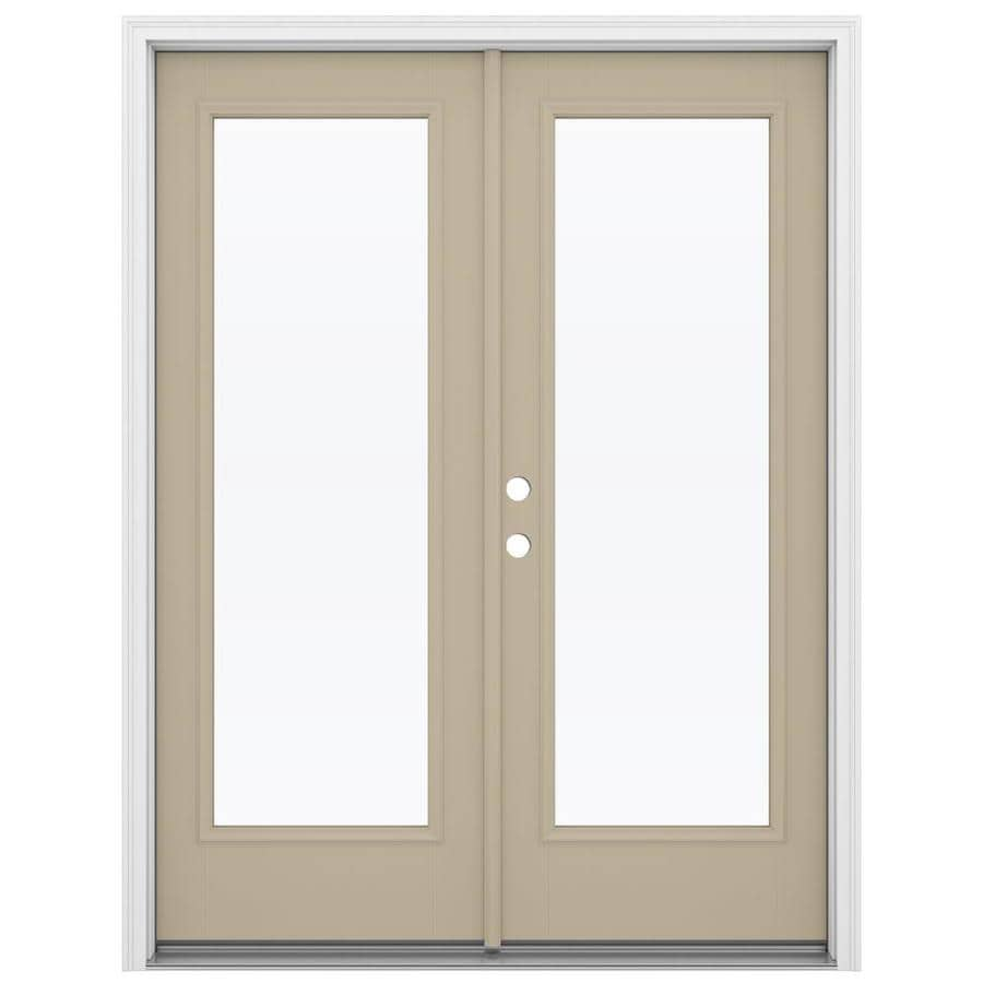 ReliaBilt 59.5-in x 79.5-in Clear Glass Right-Hand Inswing Brown Fiberglass French Patio Door