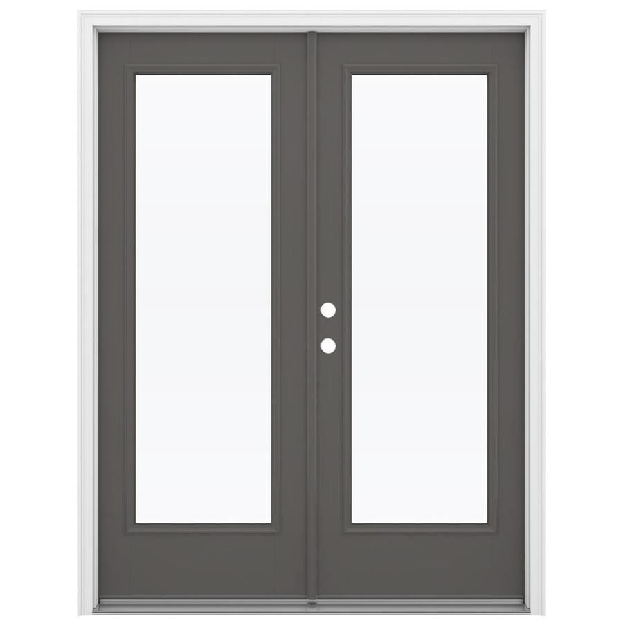 ReliaBilt 59.5-in x 79.5-in Clear Glass Right-Hand Inswing Gray Fiberglass French Patio Door