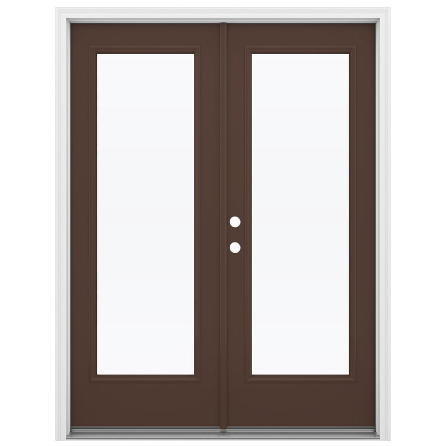 ReliaBilt 59.5-in 1-Lite Glass Chococate Fiberglass French Inswing Patio Door