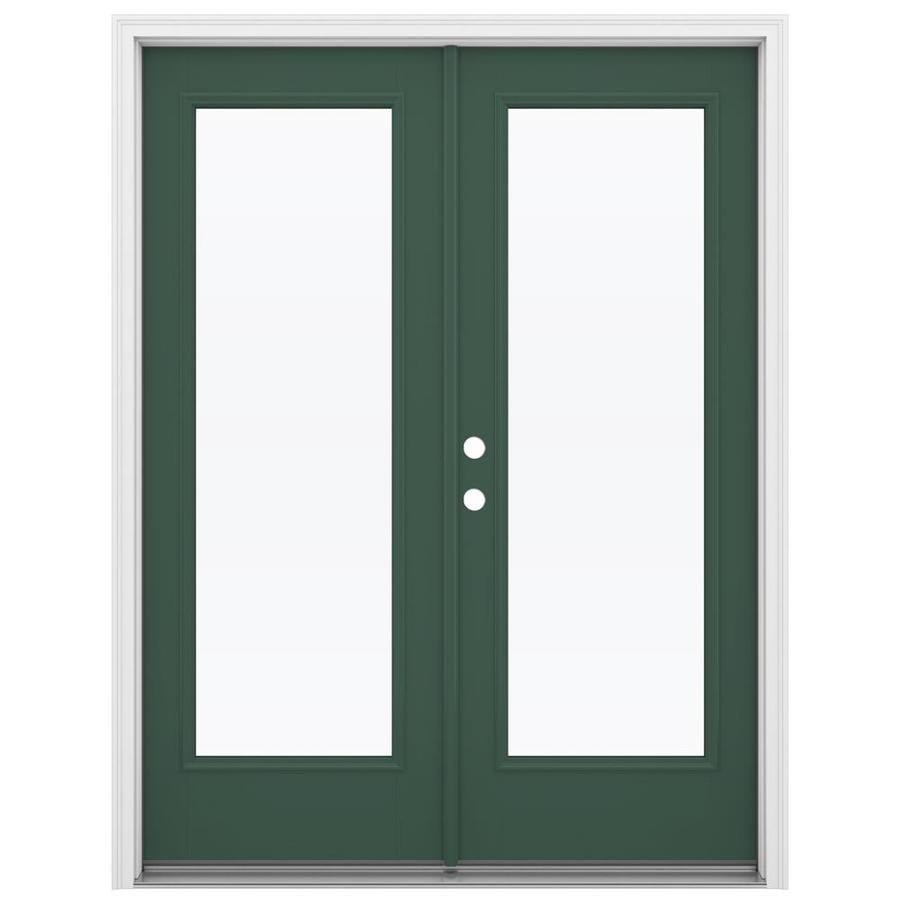 ReliaBilt 59.5-in 1-Lite Glass Evergreen Fiberglass French Inswing Patio Door