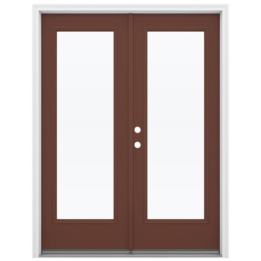 ReliaBilt 59.5-in 1-Lite Glass Foxtail Fiberglass French Inswing Patio Door