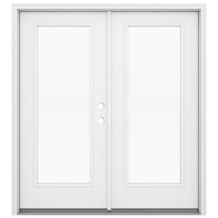 Shop reliabilt 71 5 in 1 lite glass primed fiberglass for Fiberglass patio doors