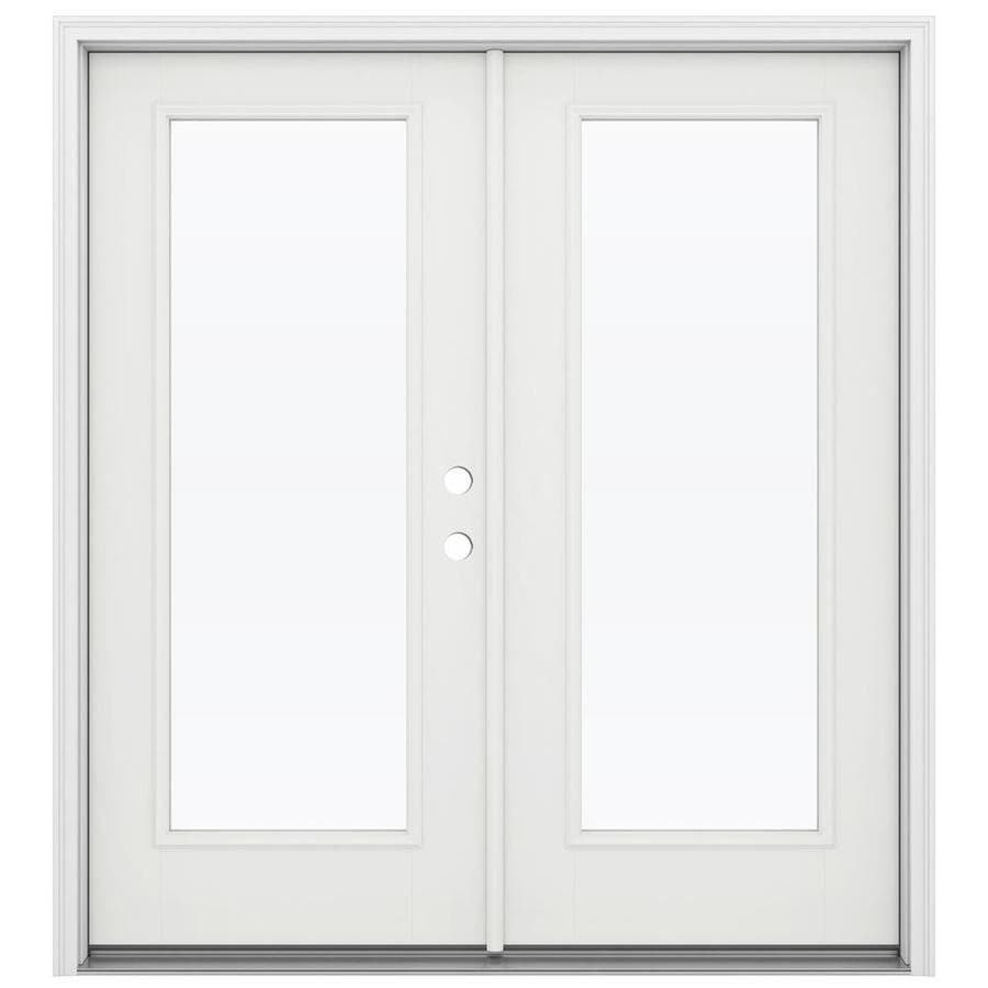ReliaBilt 71.5-in x 79.5-in Clear Glass Left-Hand Inswing White Fiberglass French Patio Door