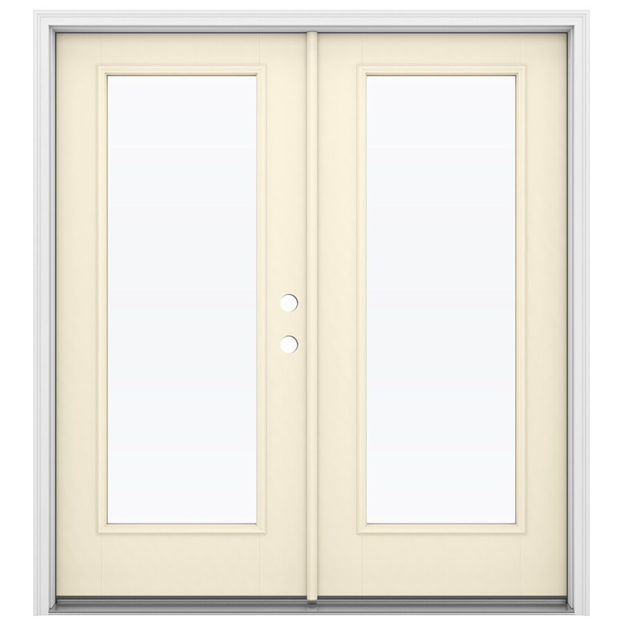 Shop reliabilt 71 5 in x 79 5 in clear glass left hand for Fiberglass french doors