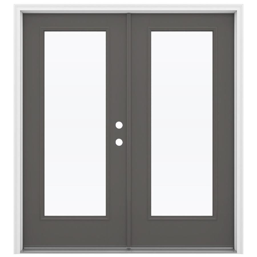 Shop reliabilt 71 5 in 1 lite glass timber gray fiberglass for Fiberglass french patio doors